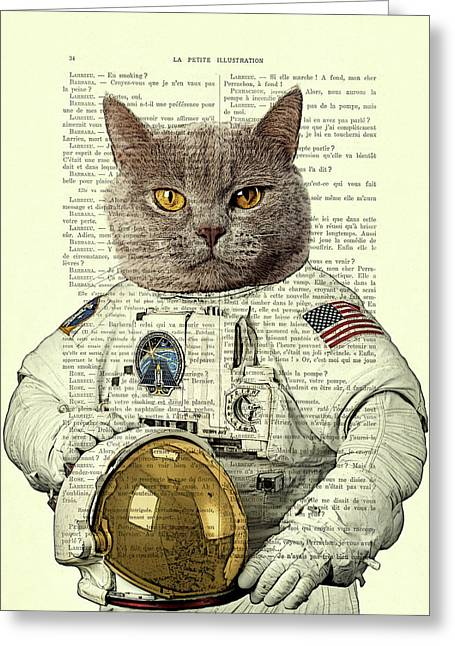 Astronaut Cat Illustration Greeting Card by Madame Memento