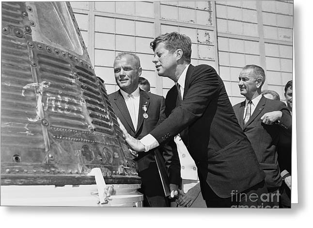 Astronaut John Glenn, President John Kennedy And Vice-president Lyndon Johnson Greeting Card