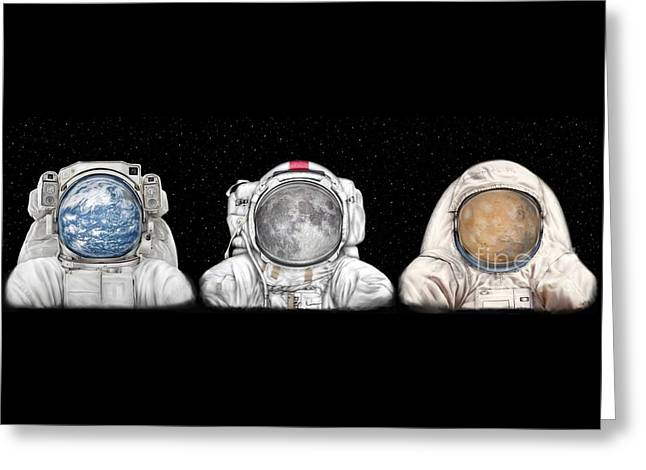 Astronaut Triptych Greeting Card by Tharsis Artworks