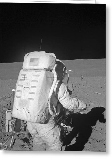 Astronaut Walking On The Moon Greeting Card by Stocktrek Images