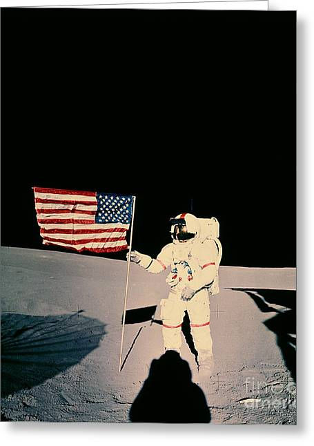 Apollo Program Greeting Cards - Astronaut With Us Flag On Moon Greeting Card by Nasa