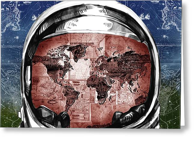 Astronaut World Map 3 Greeting Card