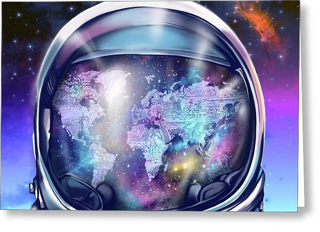 Astronaut World Map 9 Greeting Card