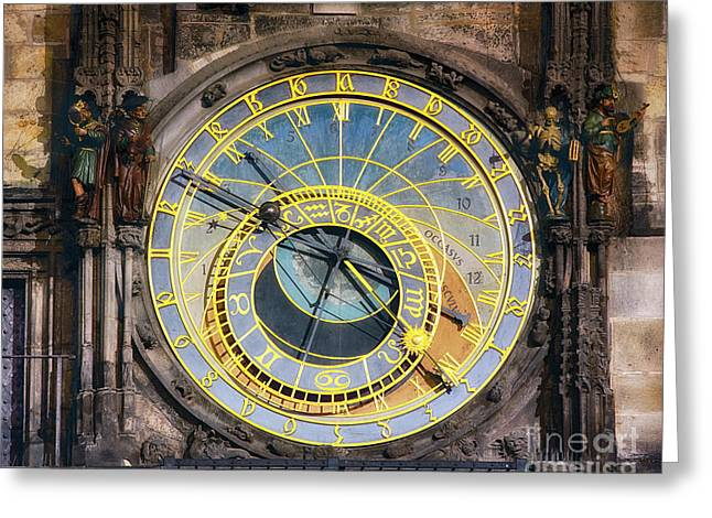 Astronomical Clock Greeting Card by George Oze