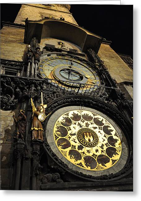 Astronomical Clock Greeting Card by Heidi Pix