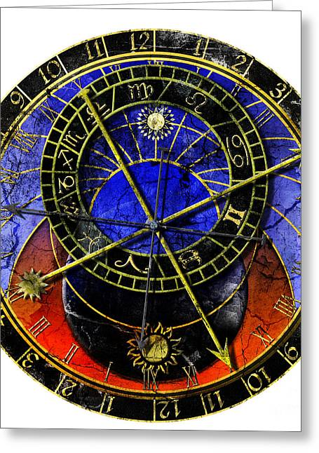 Astronomical Clock In Grunge Style Greeting Card by Michal Boubin