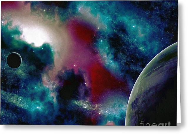 Astronomy Painting Glammed Out Teal Greeting Card