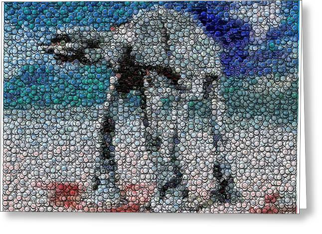 At-at Bottle Cap Mosaic Greeting Card by Paul Van Scott