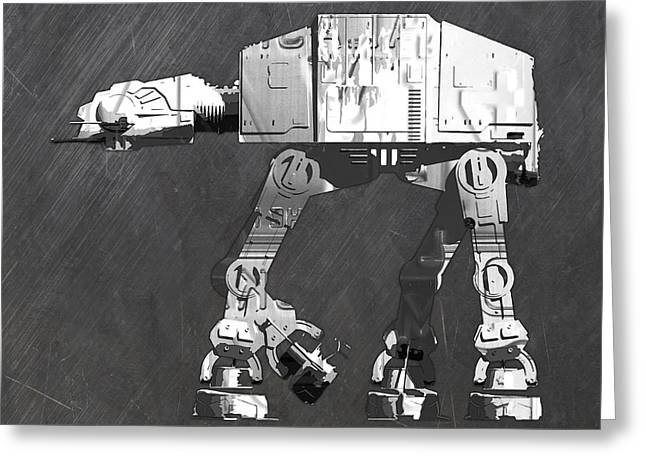 At At Walker From Star Wars Vintage Recycled License Plate Scrap Metal Art Greeting Card by Design Turnpike