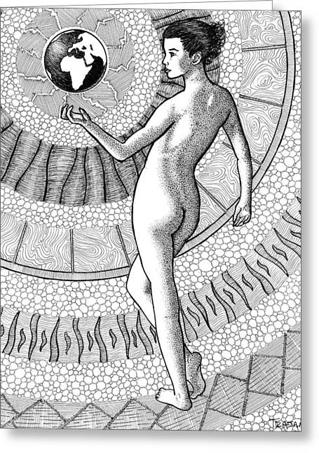 At Her Fingertips Greeting Card by Trajan