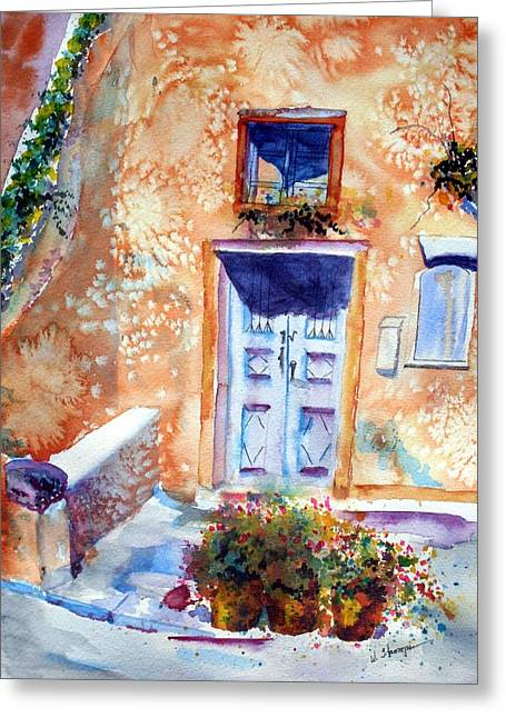 At Home In Santorini Greece  Greeting Card by Warren Thompson