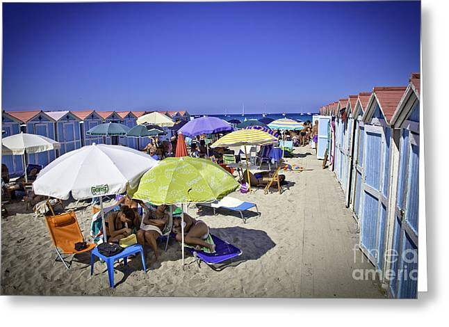 At Mondello Beach - Sicily Greeting Card by Madeline Ellis
