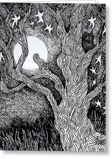 At Night Beside The Twisted Tree Greeting Card