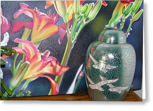 At One With Flowers And Swallows Greeting Card by Lenore Senior
