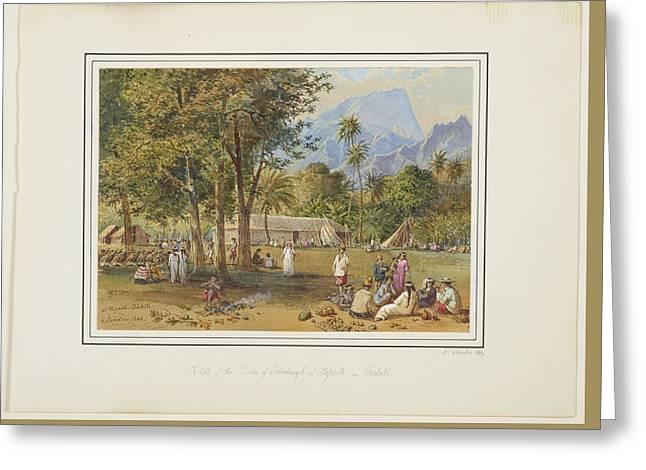 At Papeete, Tahiti, 1869, By Nicholas Chevalier. 2 Greeting Card