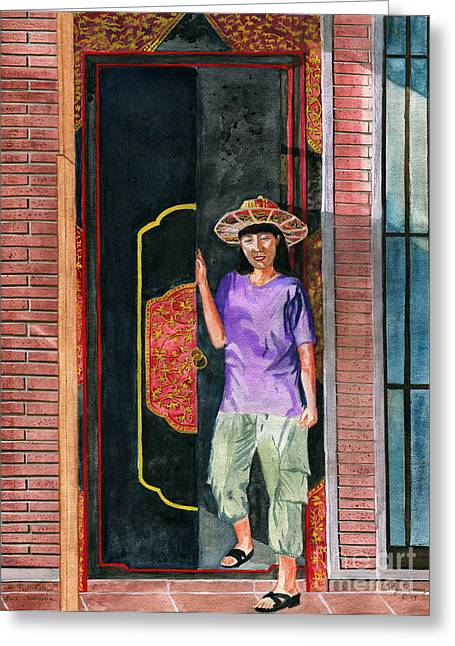 Greeting Card featuring the painting At Puri Kelapa by Melly Terpening