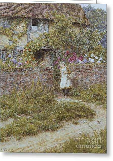At Sandhills Greeting Card by Helen Allingham