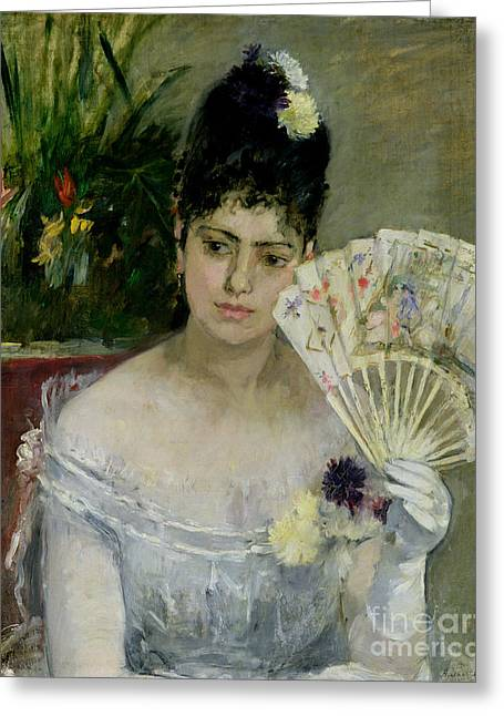Glove Greeting Cards - At The Ball Greeting Card by Berthe Morisot