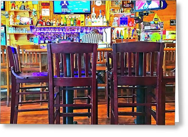 At The Bar Greeting Card by Susan Leggett