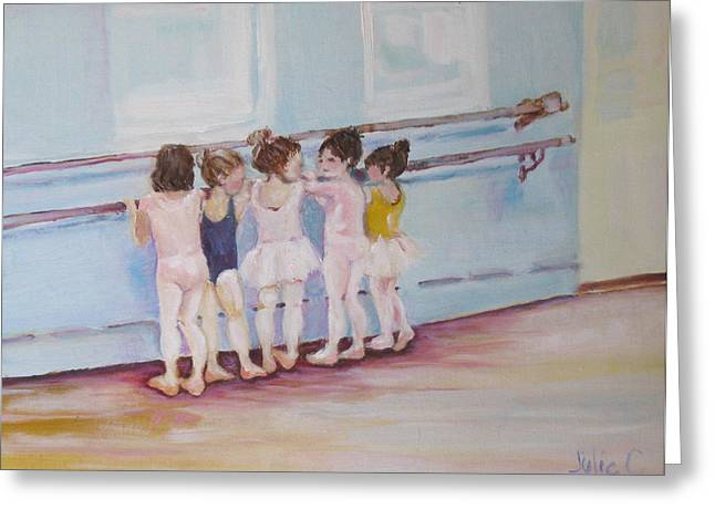 Girl Greeting Cards - At the Barre Greeting Card by Julie Todd-Cundiff