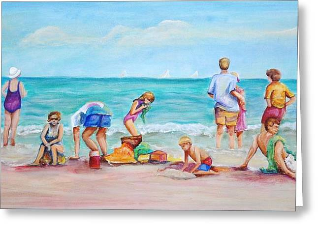 Greeting Card featuring the painting At The Beach by Patricia Piffath