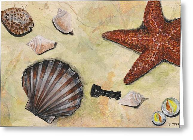 At The Beach Greeting Card by Sandy Clift