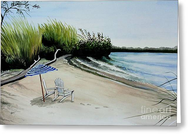 At The Breezy Beach Greeting Card by Elizabeth Robinette Tyndall