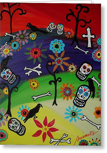 At The Cemetery Greeting Card by Pristine Cartera Turkus