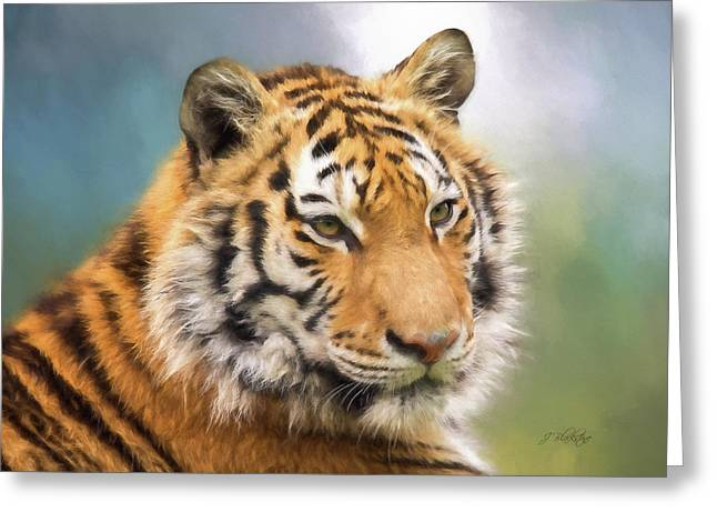 At The Center - Tiger Art Greeting Card
