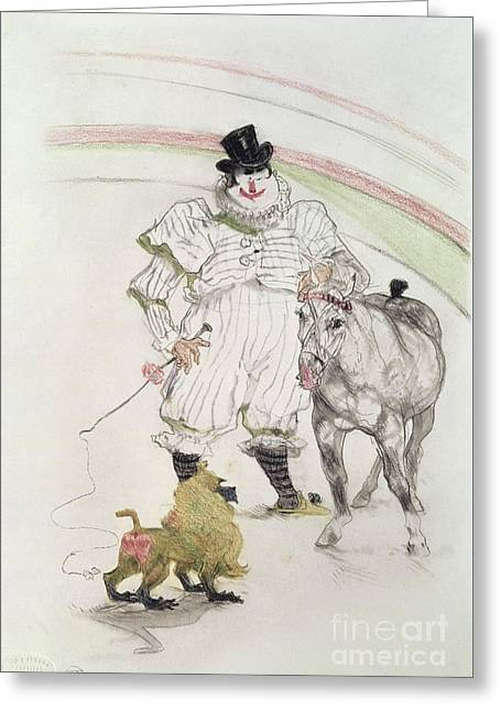At The Circus Performing Horse And Monkey Greeting Card by MotionAge Designs