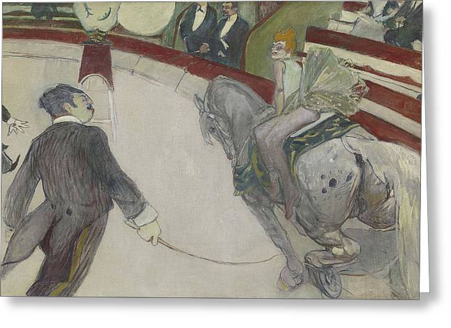 At The Cirque Fernando Greeting Card by Henri de Toulouse-Lautrec