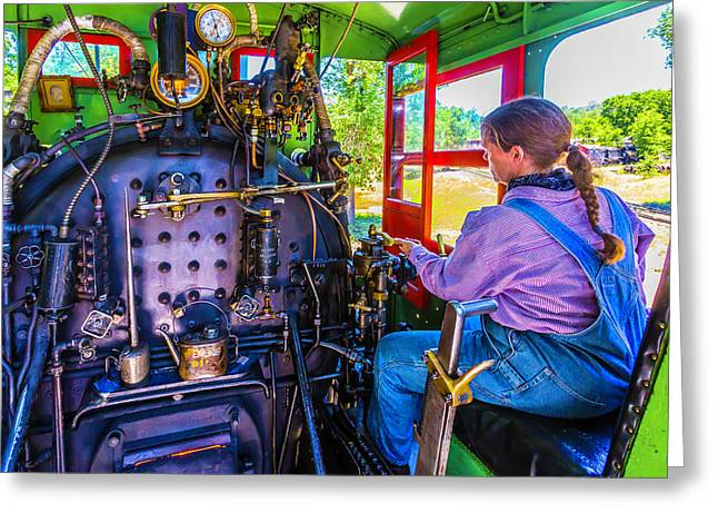 At The Controls Of Steam Engine No 3 Greeting Card by Garry Gay
