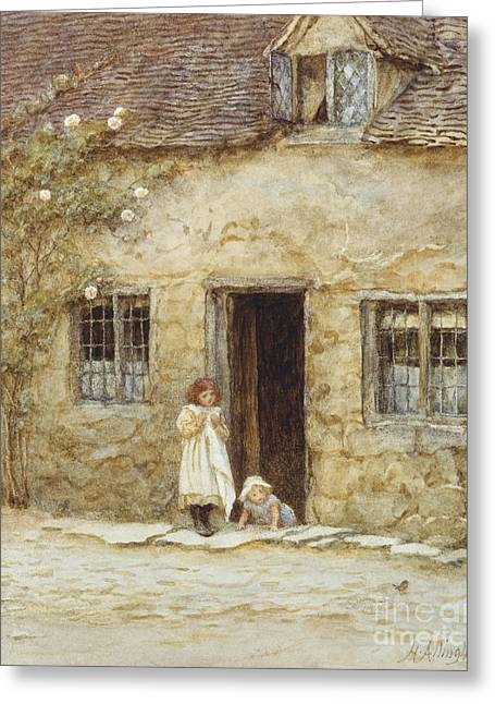Kids Artist Greeting Cards - At the Cottage Door Greeting Card by Helen Allingham