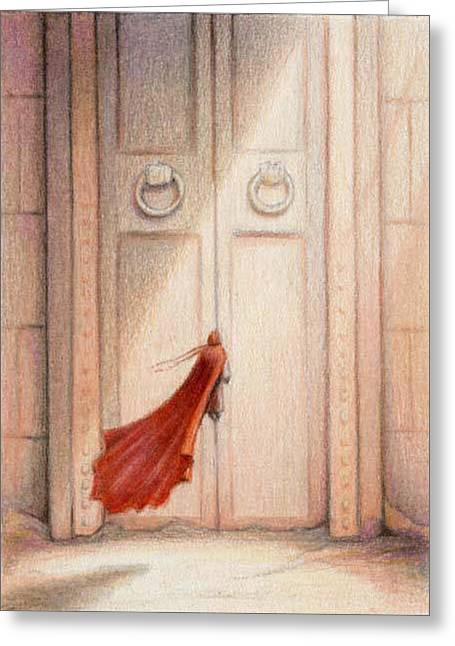 At The Door Greeting Card by Amy S Turner