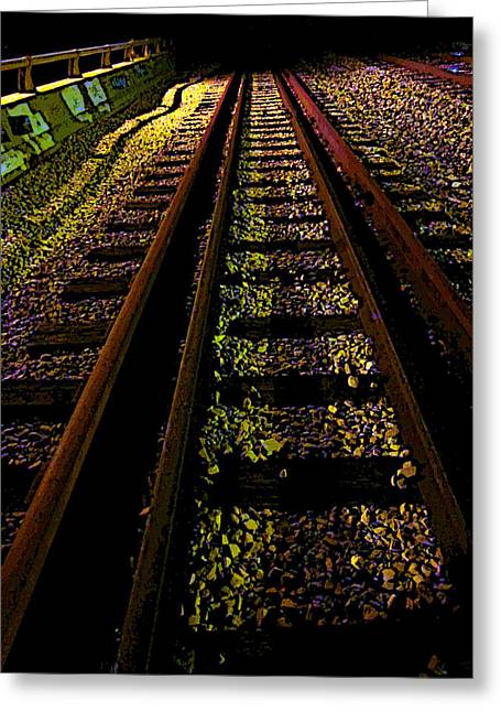 At The End Of A Railroad Track Greeting Card