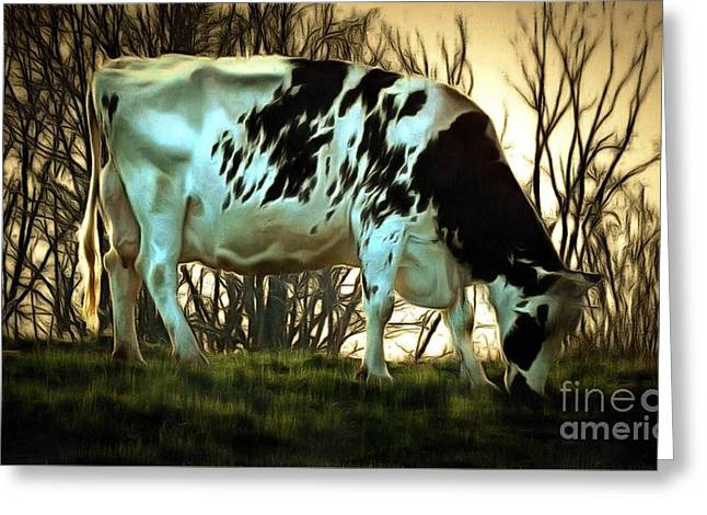 Greeting Card featuring the painting At The End Of The Day - Black And White Cow by Janine Riley