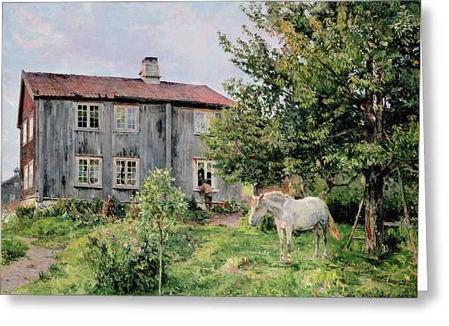 At The Farm Greeting Card by Gerhard Peter Frantz Vilhelm Munthe