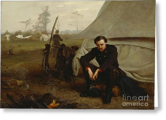 Lost In Thought Paintings Greeting Cards - At the Front Greeting Card by George Cochran Lambdin