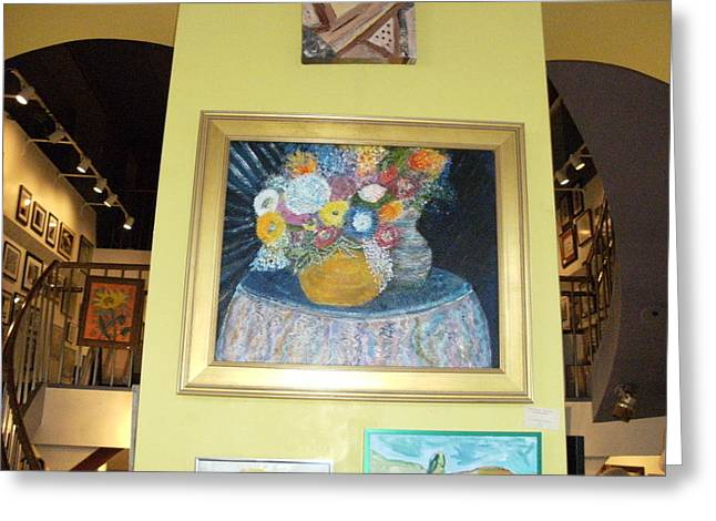 At The Gallery Greeting Card by Anne-Elizabeth Whiteway