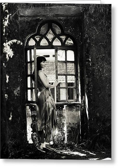 At The Gothic Window. Old Margao. Goa. India Greeting Card