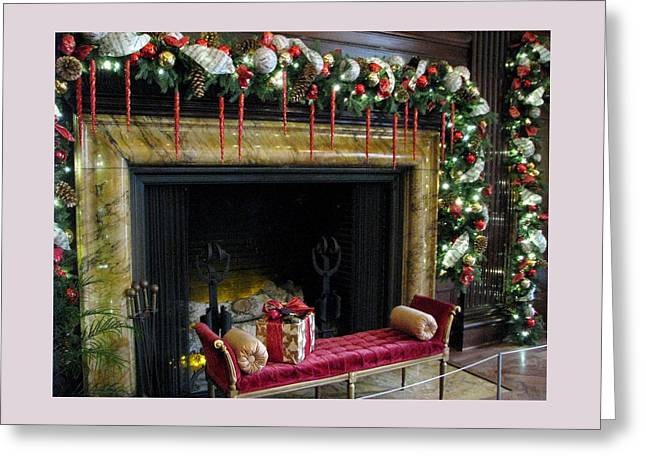 At The Hearth Of Christmas Greeting Card by Angela Davies