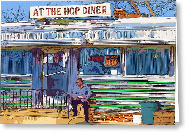 At The Hop Diner Greeting Card by Rick Black