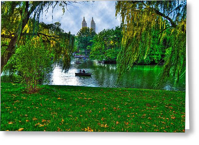 At The Lake In Central Park Greeting Card by Randy Aveille