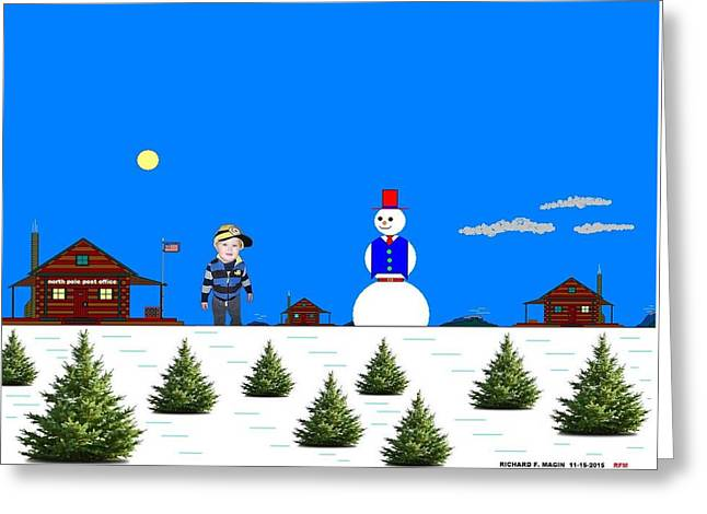At The North Pole.  Greeting Card by Richard Magin