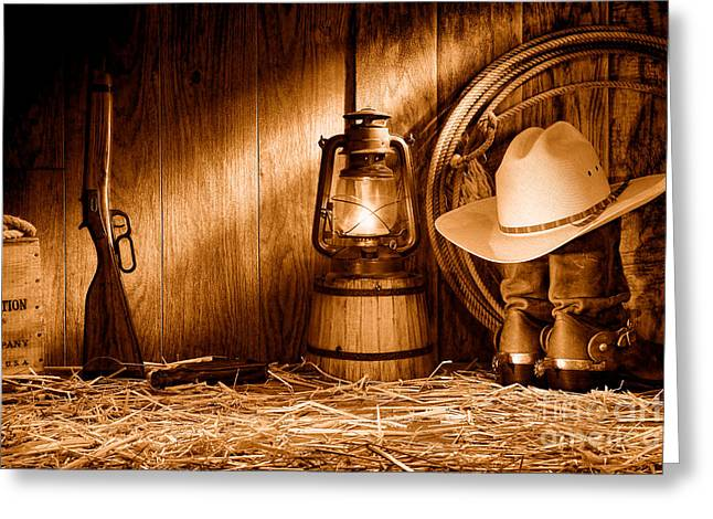 At The Old Ranch - Sepia Greeting Card by Olivier Le Queinec
