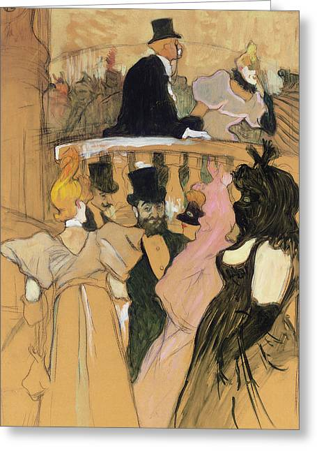 At The Opera Ball Greeting Card by Henri de Toulouse-Lautrec