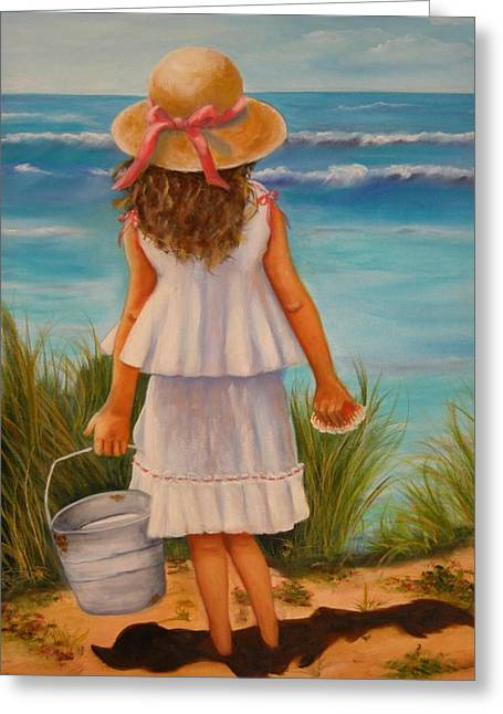 Greeting Card featuring the painting At The Seashore by Joni McPherson