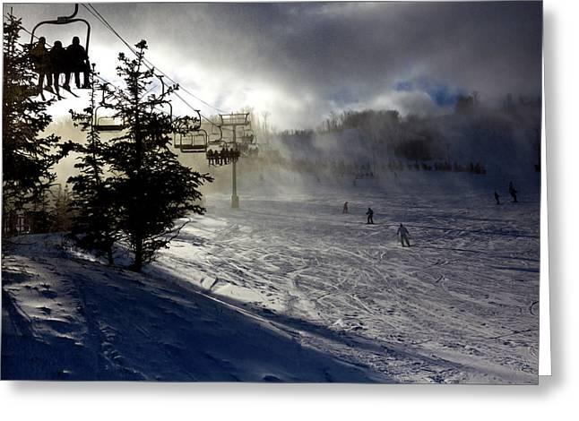At The Ski Slope Greeting Card
