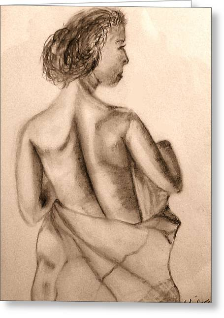 Greeting Card featuring the drawing At The Spa by Barbara Giordano