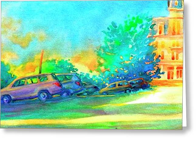 At The Stop And Go Greeting Card by Virgil Carter